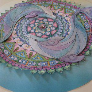 Hand-colored Dolphin Mandala Mixed Media Wall Art on Ivory Wooden Frame